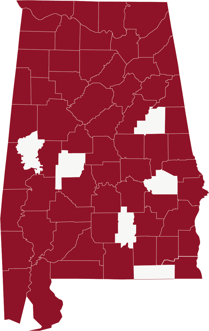 Picture of Alabama counties with a lot in red