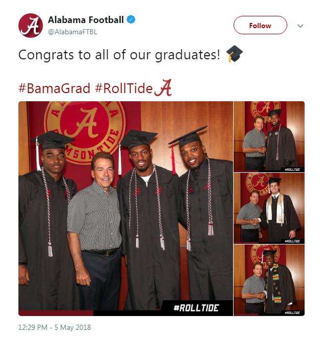 Screenshot of a tweet from Alabama Football: Congrats to all of our graduates!