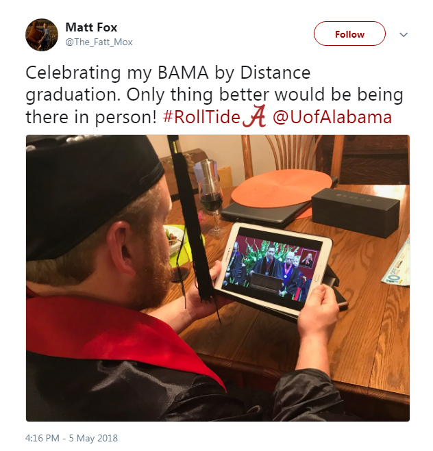 Screenshot of a tweet from Matt Fox: Celebrating my BAMA by Distance Graduation.