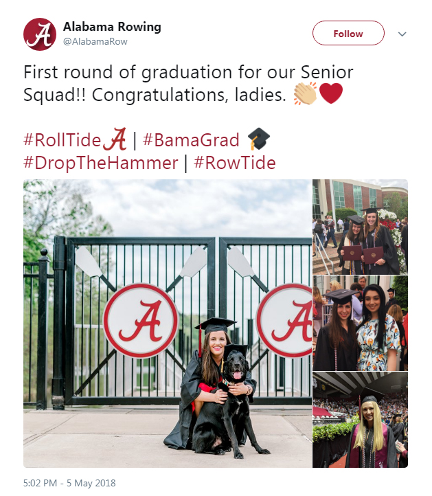 Screenshot of a tweet from Alabama Rowing: First round of graduation for our Senior Squad!!