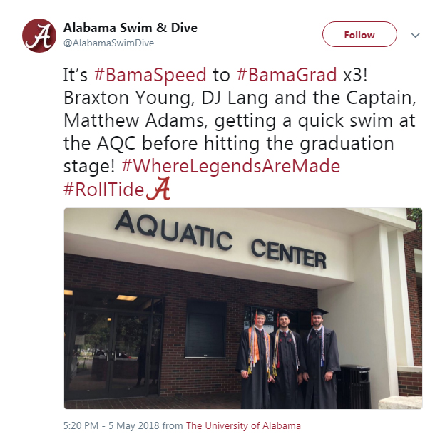 Screenshot of a tweet from Alabama Swim & Dive: It's #BamaSpeed to #BamaGrad x3!