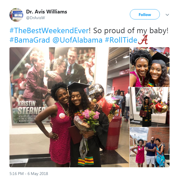 Screenshot of a tweet from Dr. Avis Williams: So proud of my baby! #BamaGrad