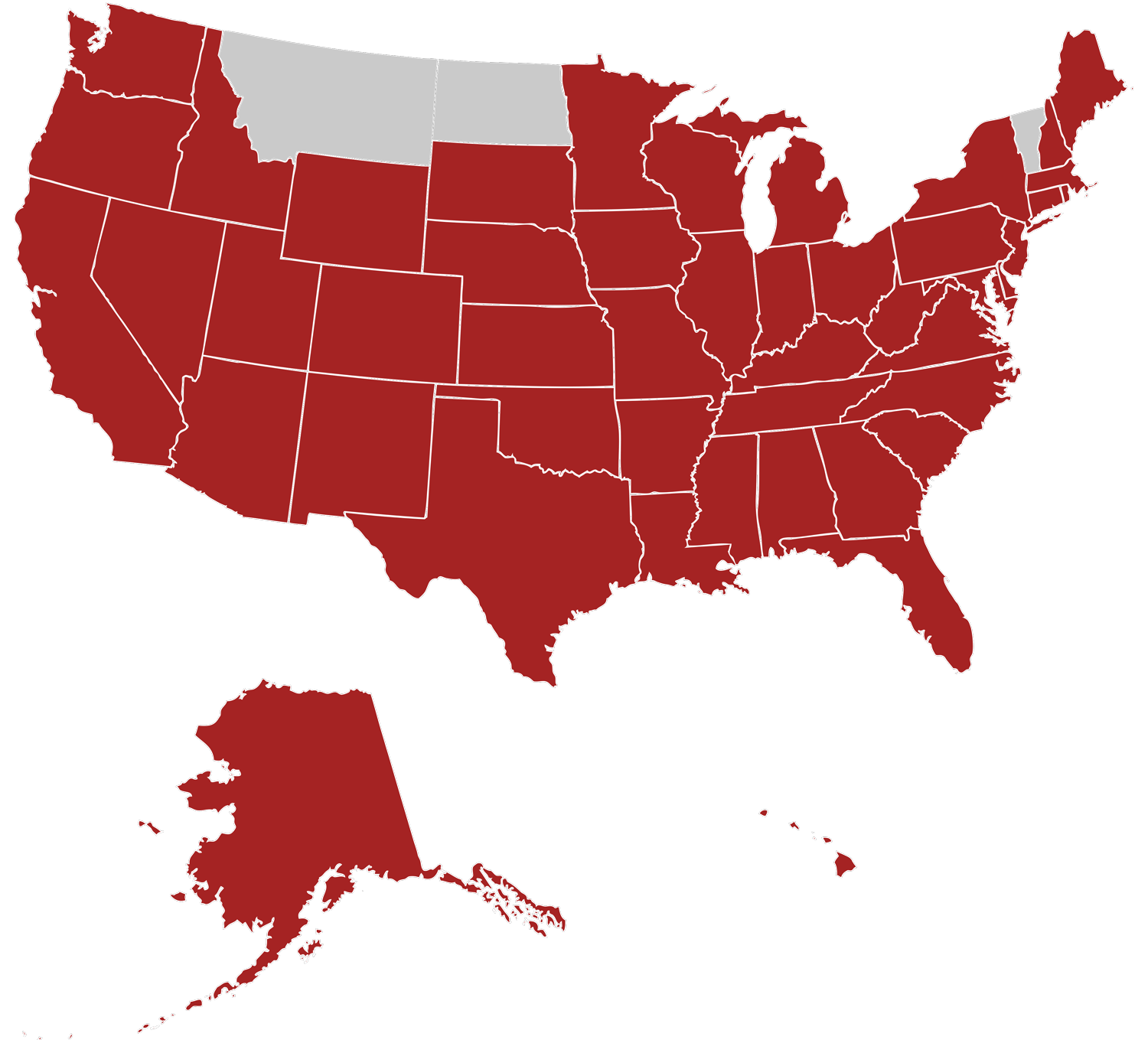 Picture of the United States of America with a lot in red
